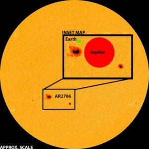 Porovnání velikosti skvrny na Slunci