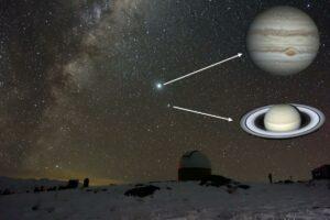 Jupiter a Saturn na obloze