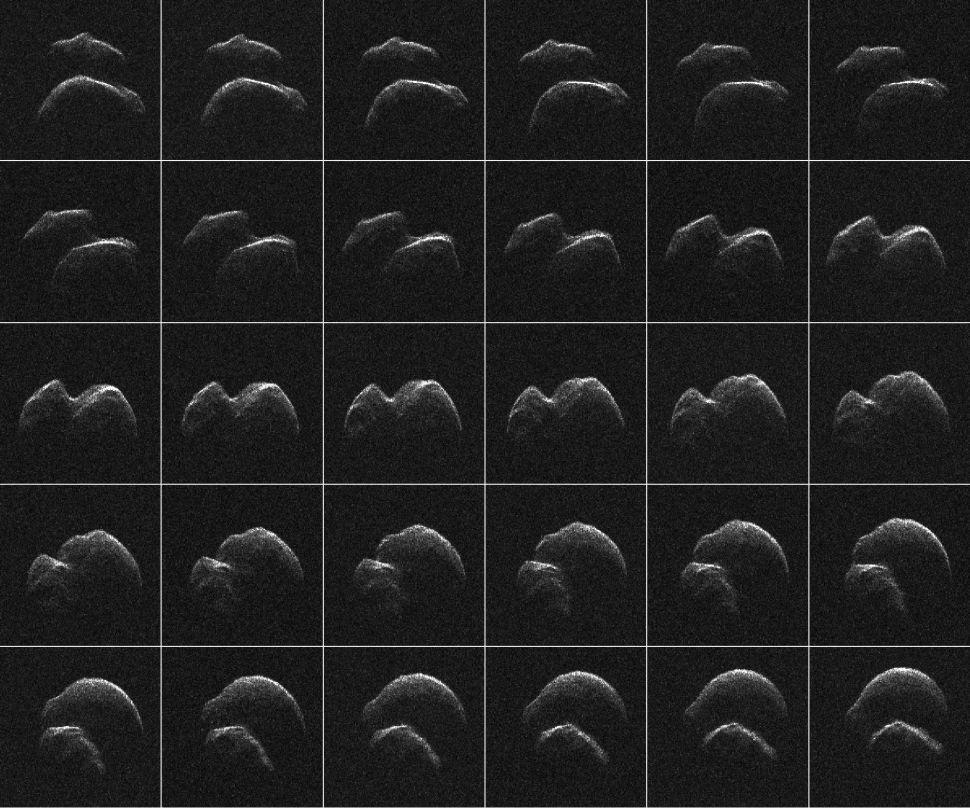 Snímky asteroidu 2014 JO25 generované pomocí radarových dat shromážděných pomocí radaru Goldstone Solar System NASA v kalifornské poušti Mojave. (Obrazový kredit: NASA / JPL-Caltech / GSSR)