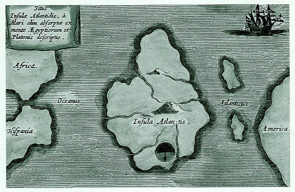 Mapa Atlantidy od Athanasia Kirchera (1678), která umisťuje ostrovní stát někam do Atlantického oceánu, jak naznačil Platón