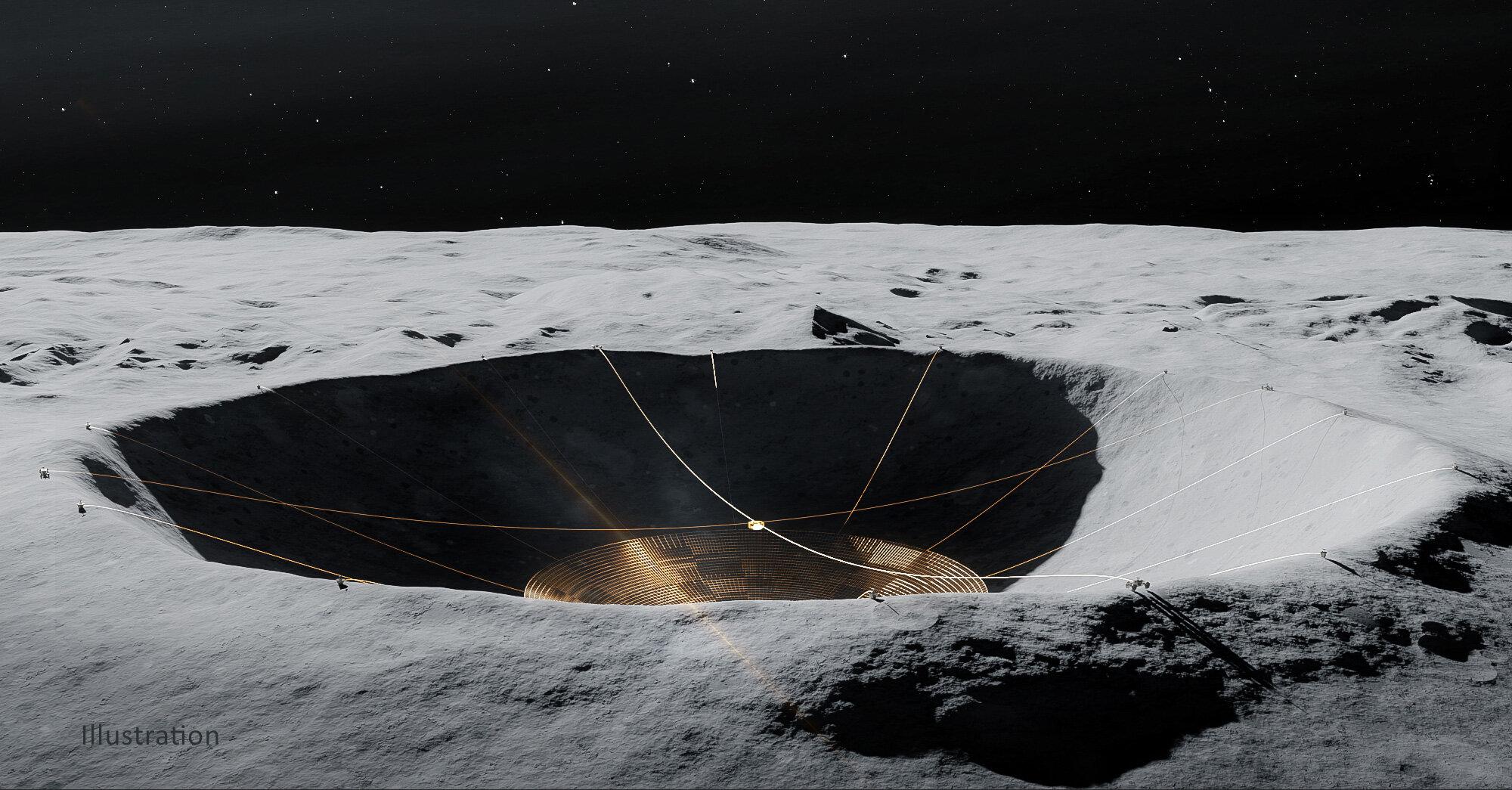 Jak je znázorněno na tomto obrázku, rovery DuAxel mohly ukotvit drátěné pletivo z okraje kráteru. Uznání: Vladimir Vustyansky